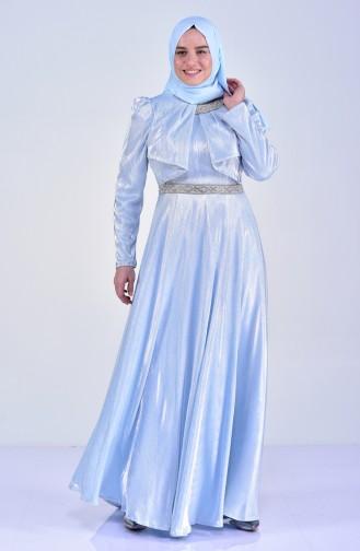 Büyük Beden Taşlı Abiye Elbise 8020-04 Bebe Mavisi