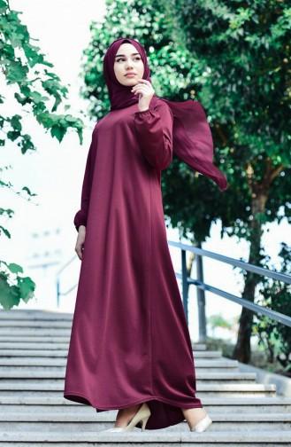 Kolu Lastikli Elbise 6666-12 Fuşya