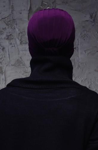 Bonnet Turban Prêt Perlés 1007-17 Plum 1007-17