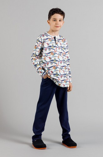 Desenli Erkek Çocuk Pijama Takımı 17ECP0003 Mavi