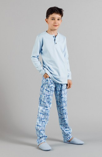 Patterned Boy´s Pajamas Set 17ECP0008 Blue 17ECP0008