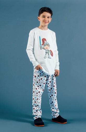 Baskılı Erkek Çocuk Pijama Takımı 17ECP0010 Ekru Mavi