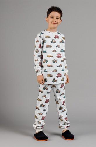 Gemusterte Jungen Pyjamas Set 17ECP0016 Weiss 17ECP0016