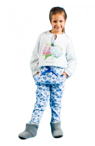 Baskılı Kız Çocuk Pijama Takımı 17KCP0012 Mavi