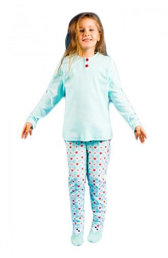Printed Girl Pajama Set 17KCP0015 Blue 17KCP0015