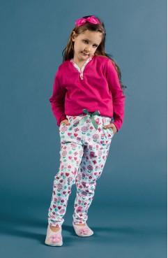 Desenli Kız Çocuk Pijama Takımı G1802 Pembe 80b5922c7