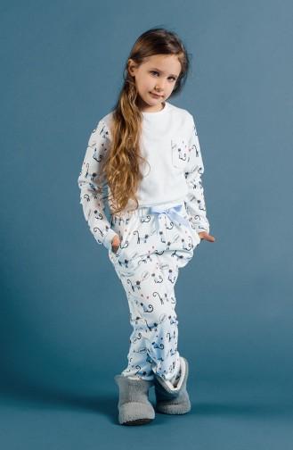 Printed Girl Pajama Set 17KCP0017 White 17KCP0017