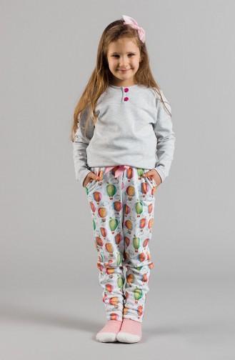 Printed Girl Pajama Set 17KCP0021 Gray 17KCP0021