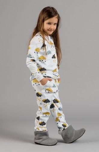 Patterned Girls´ Pajamas Set 17KCP0037 Ecru 17KCP0037