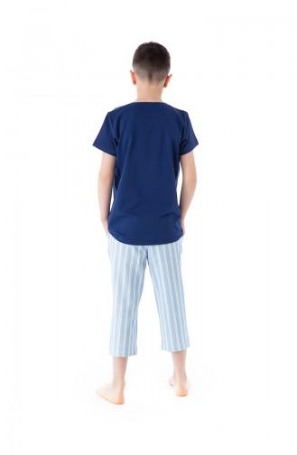 Çizgili Erkek Bermuda Pijama Takımı B1804Mavi