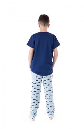 Patterned Boys Pajamas Suit B1805 Blue 1805