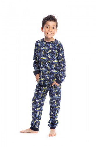 Patterned Boy´s Pajamas Set B1807 Navy Blue 1807