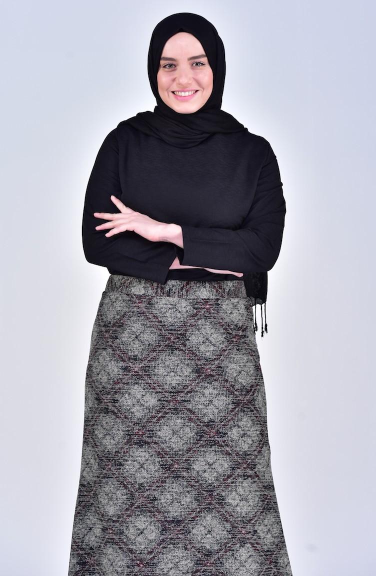 030d1902d5 Large Size Patterned Skirt 1038-01 Plum 1038-01