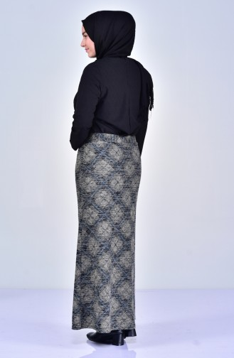 Large Size Patterned Skirt 1038-03 Petrol 1038-03