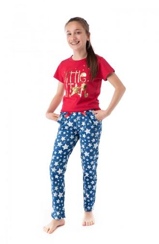 Yıldız Desenli Genç Kız Pijama Takımı G1808 Mavi 1808