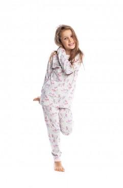 Sefamerve, Unicorn Patterned Girls Pajamas Set G1810 Light Gray