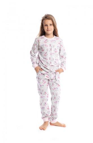 Unicorn Desenli Kız Çocuk Pijama Takımı G1810 Açık Gri
