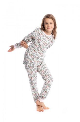 Desenli Kız Çocuk Pijama Takımı G1812 Pembe
