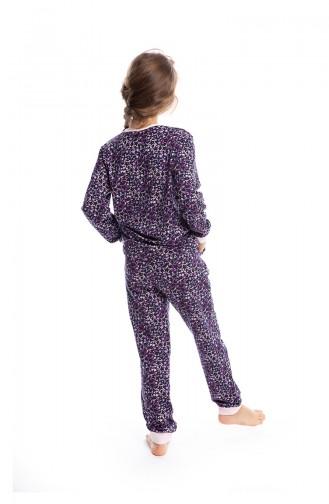 Yıldız Desenli Kız Çocuk Pijama Takımı G1813 Mor