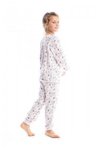 Geometrik Desenli Kız Çocuk Pijama Takımı G1814 Toz Pembe