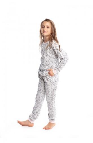 Kedi Desenli Kız Çocuk Pijama Takımı G1815 Ekru