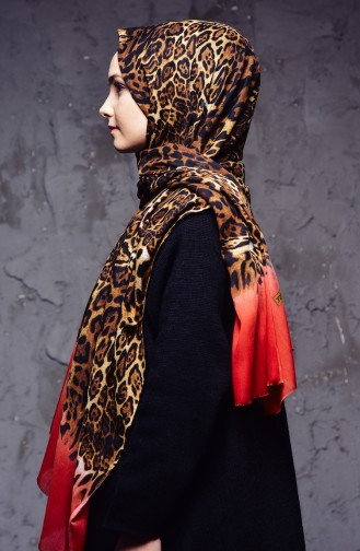 Leopard Patterned Cotton Shawl 2110-01 Red 2110-01