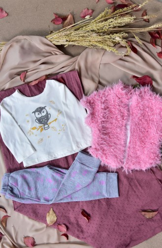 Baby 3 Pcs Suit A8566-01 Pink 8566-01