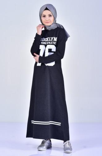 Baskılı Spor Elbise 4035-05 Füme