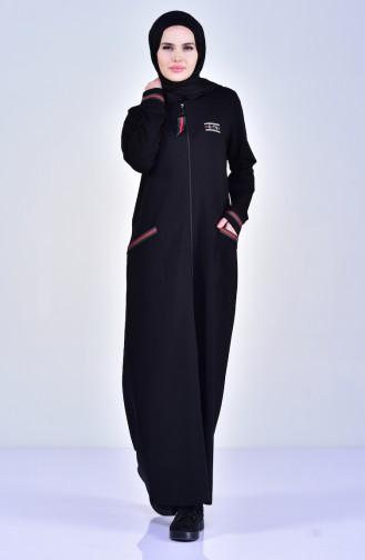 Sport Abaya mit Tasche 99169-02 Schwarz 99169-02