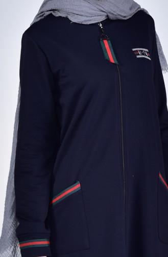 Sport Abaya mit Tasche 99169-03 Dunkelblau 99169-03