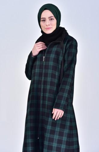 Kareli Kışlık Kap 0239-01 Yeşil Siyah