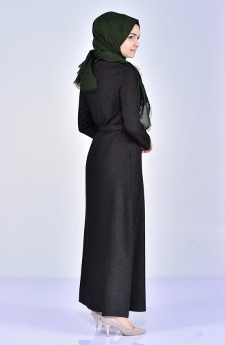 فستان بتصميم حزام للخصر مُزين بالورد5005-01 لون اخضر داكن 5005-01