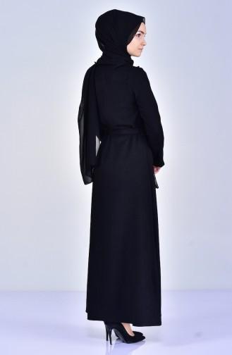 Çiçek Aplikeli Kuşaklı Elbise 5005-02 Siyah