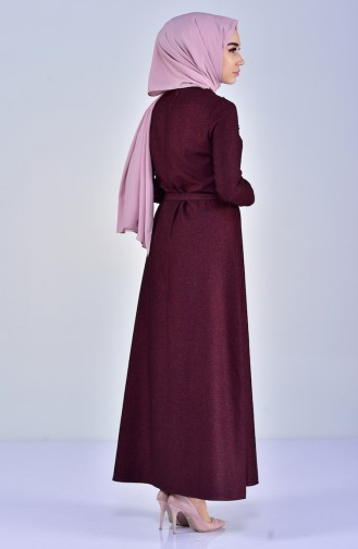 فستان بتصميم حزام للخصر مُزين بالورد 5005-03 لون ارجواني 5005-03