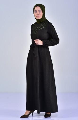 Dantelli Kuşaklı Elbise 5007-01 Koyu Yeşil