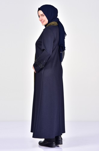 Große Größen Abayas mit Perlen 1004-02 Dunkelblau 1004-02