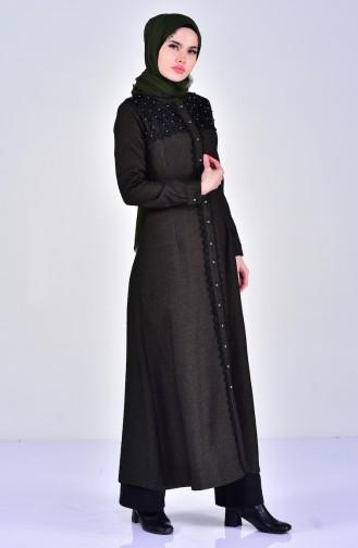 Abaya mit Spitzendetail 5003-01 Khaki 5003-01