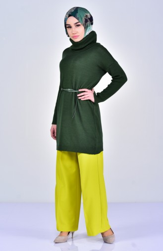 Fermuarlı Bol Paça Pantolon 3095-12 Fıstık Yeşil