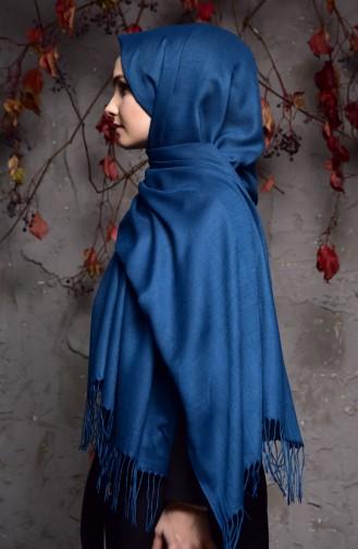 Düz Kalın Paşmina Şal 901406-11 Petrol Mavisi