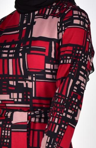 Desenli Elbise 7105-01 Bordo