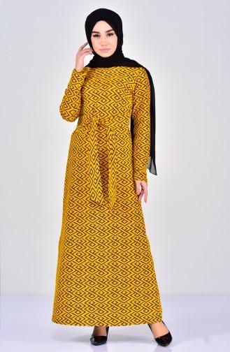 Desenli Kuşaklı Elbise 7107-03 Hardal Siyah 7107-03