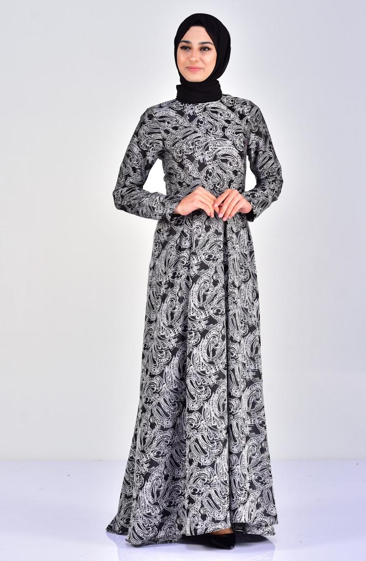 441b1ebf54a3f Desenli Pileli Elbise 1033-02 Siyah