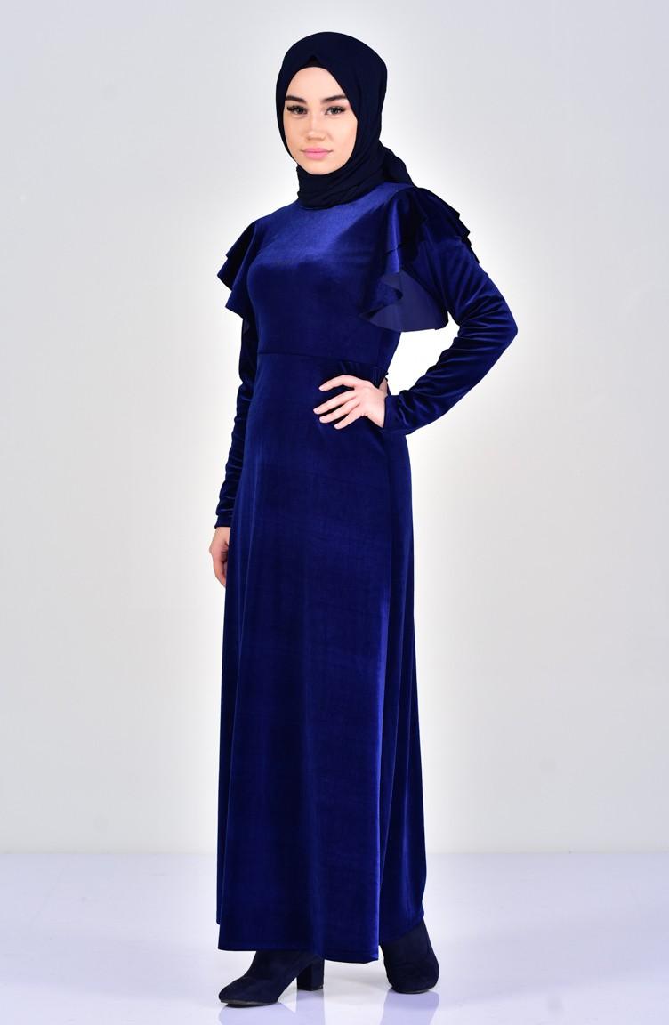 7d8a95e43abc1 Kadife Elbise 4030-01 Lacivert