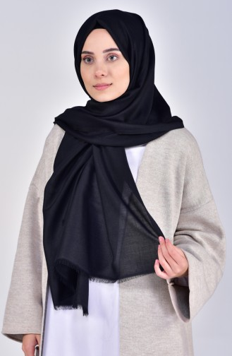Plain Cotton Shawl 19045-01 Black 19045-01