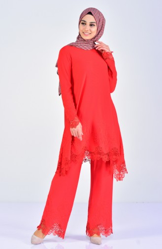 Laced Tunic Trousers Double Suit 7205-02 Red 7205-02