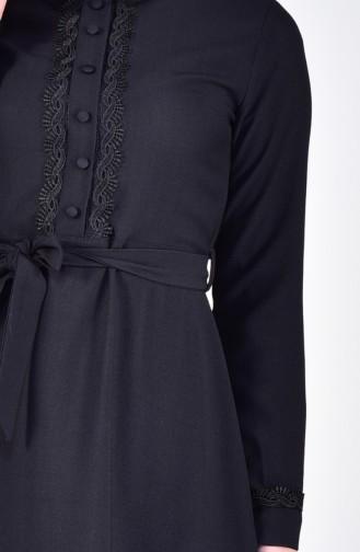 Dantelli Elbise 5004-02 Siyah