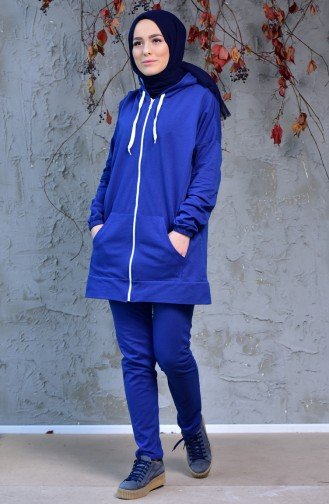 Zippered Tracksuit Suit 18108-04 İndigo 18108-04