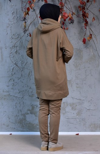 Zippered Tracksuit Suit 18108-05 Light Brown 18108-05
