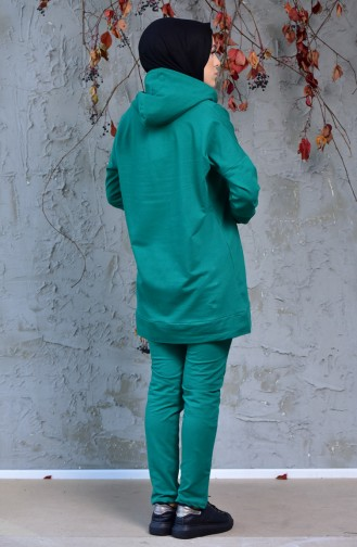 Zippered Tracksuit Suit 18108-07 Emerald Green 18108-07