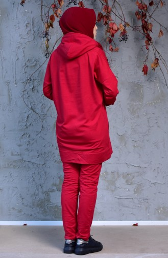 Zippered Tracksuit Suit 18108-08 Bordeaux 18108-08